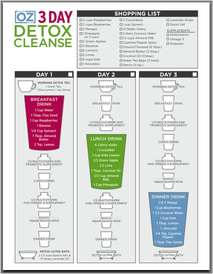 3 day detox cleanse meal plan dr oz