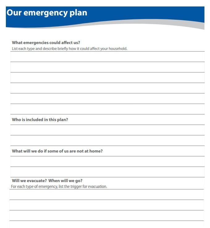 disaster plan template