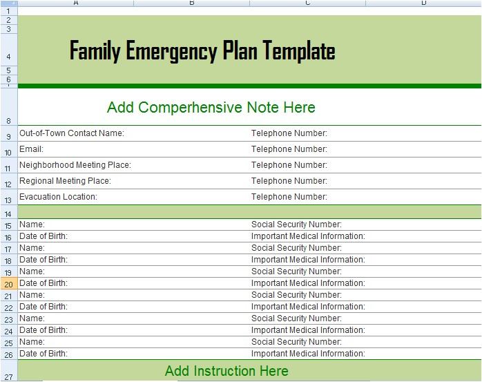 home disaster plan example