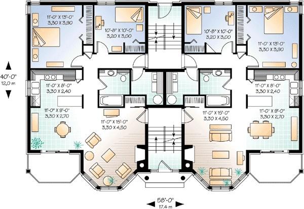 multi family house plan 21425dr