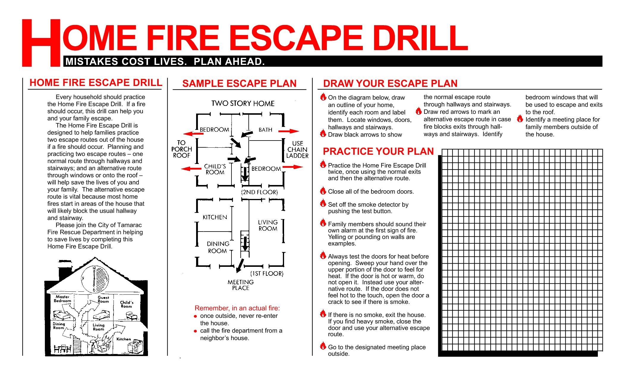 printable fire escape plan template