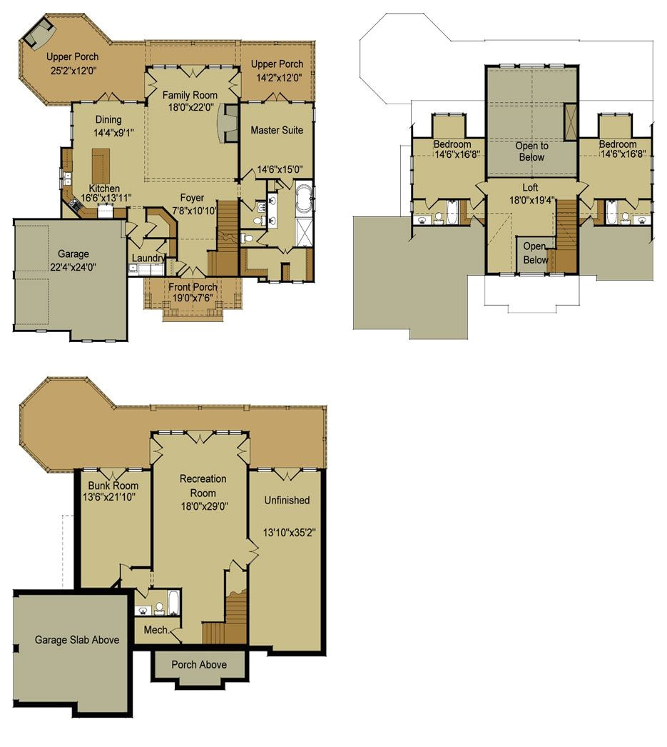 lake house floor plans with walkout basement