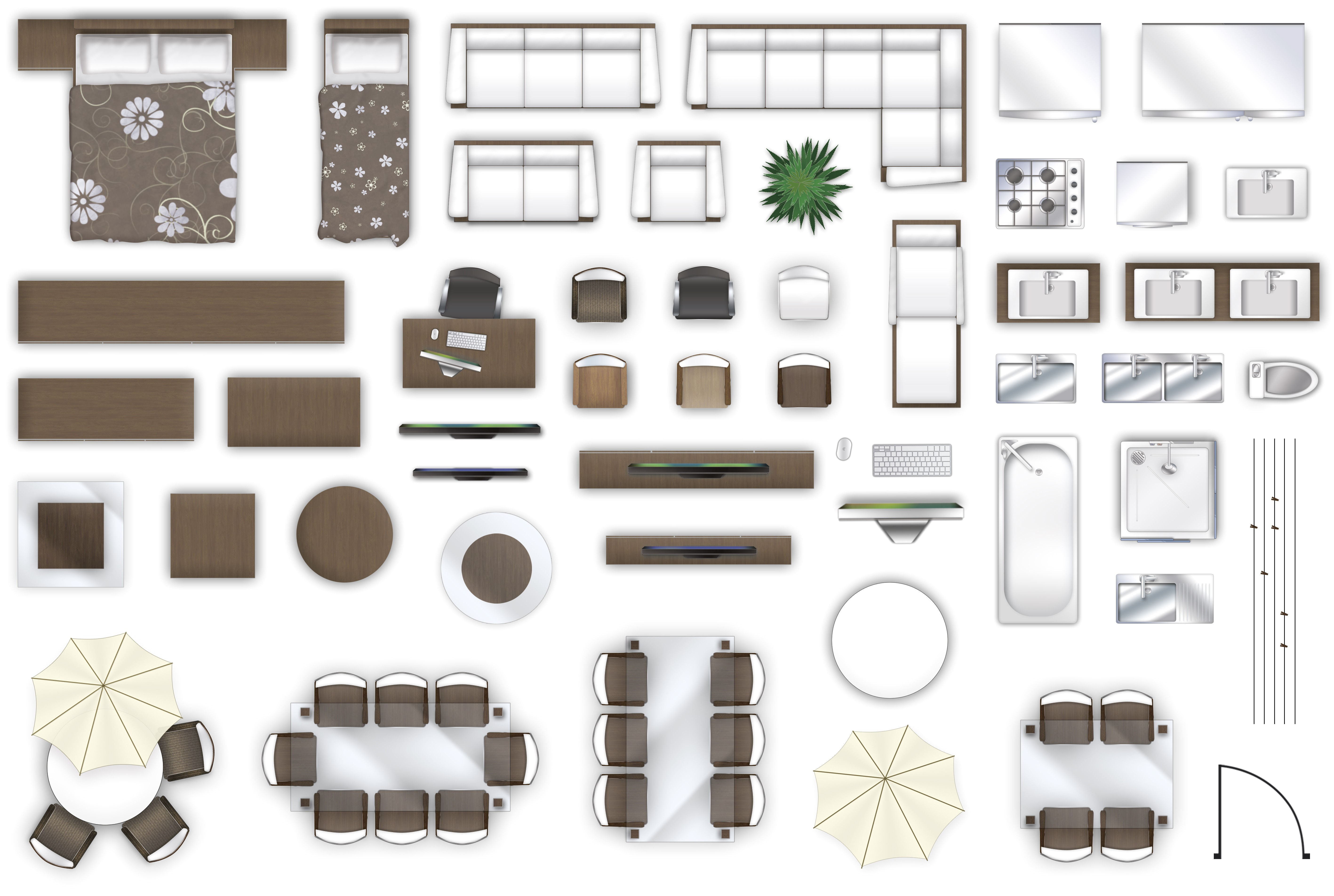 2d furniture floorplan top down view style 3 psd