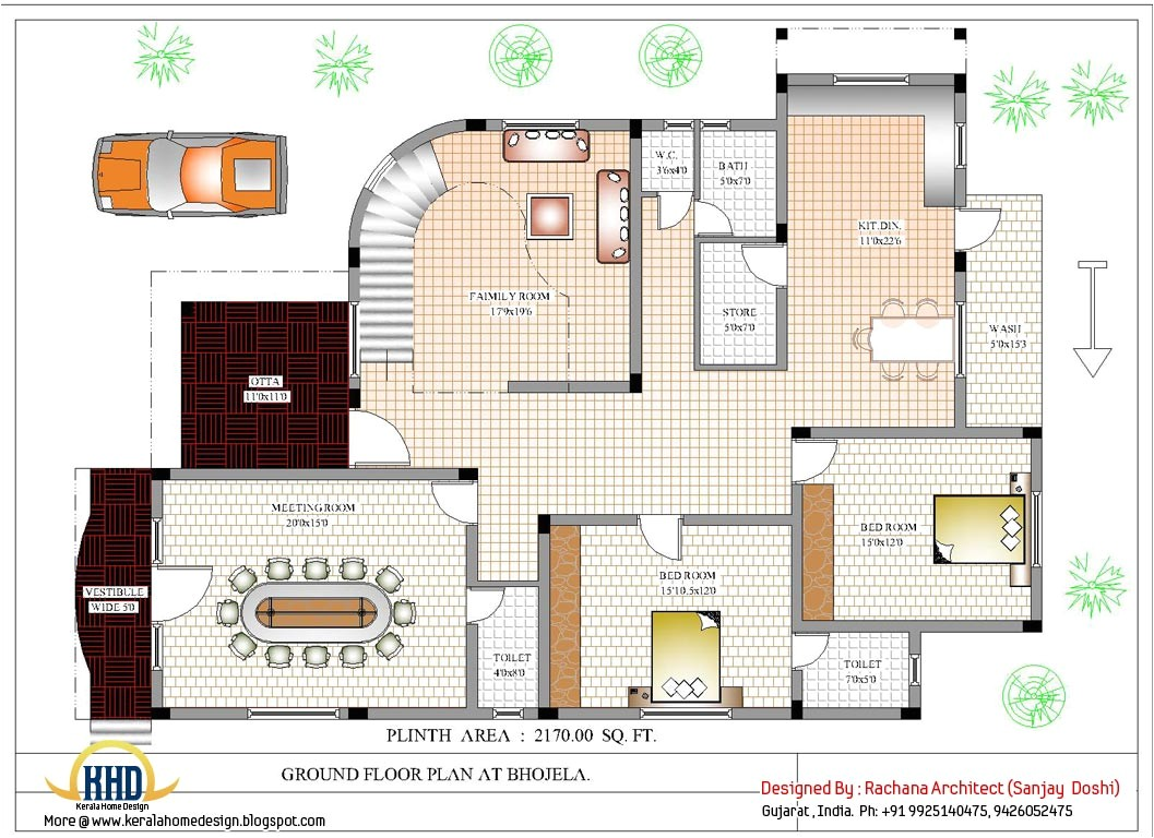luxury indian home design with house