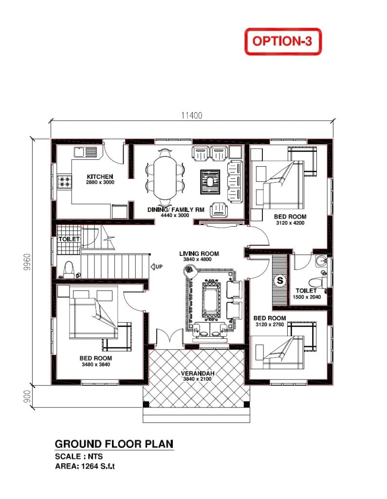 kerala model 3 bedroom house plans