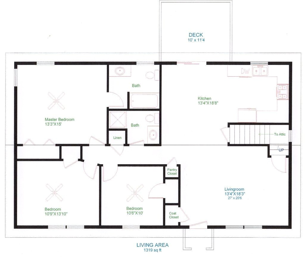 Home Plan Design Simple One Floor House Plans Ranch Home Plans House