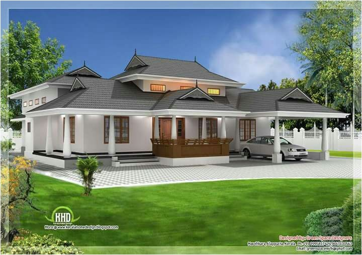 traditional kerala 3 bedroom house plan with courtyard