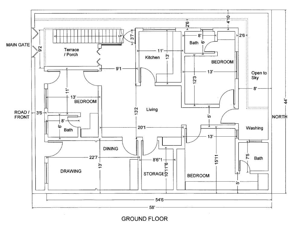 7 marla house map design pakistan