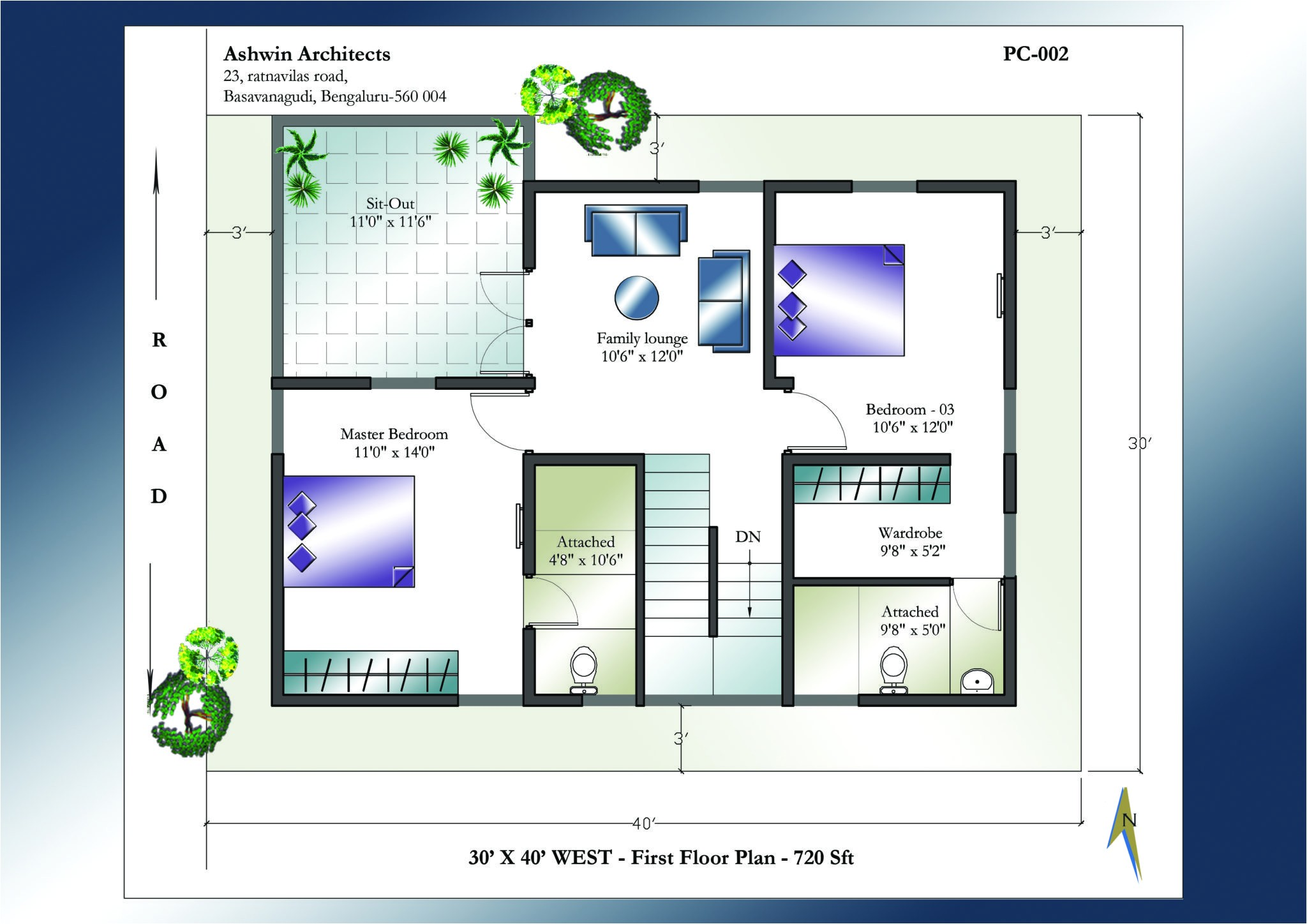 30 x 40 house plans west facing