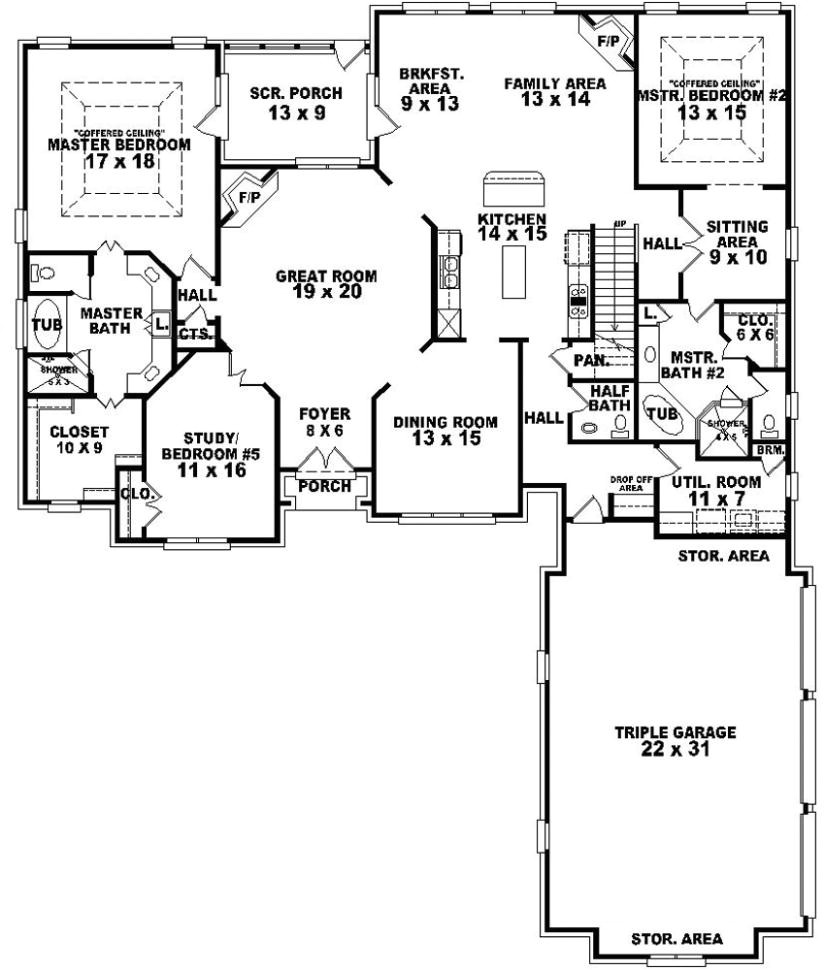654269 4 bedroom 3 5 bath traditional house plan with two 2 master suites