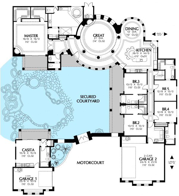 courtyard house plan with casita 16313md