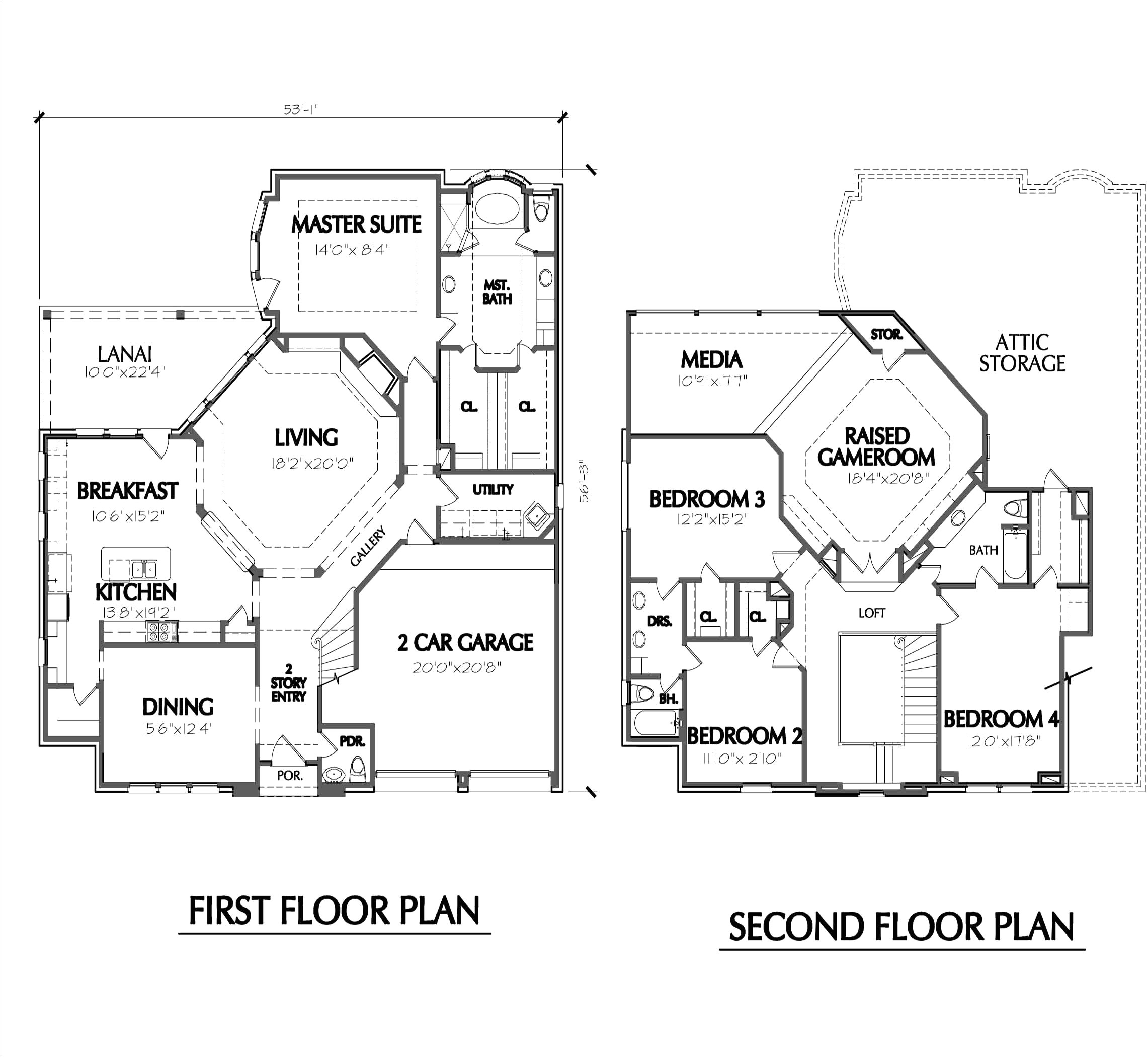 2 story house plans with library