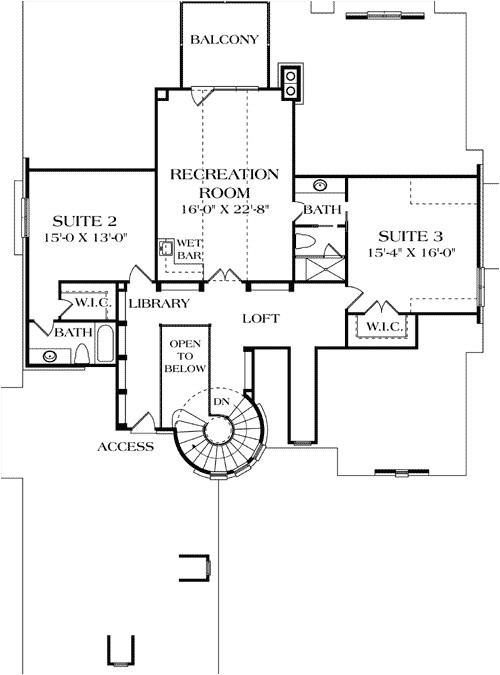 turreted stair in two story library 17509lv