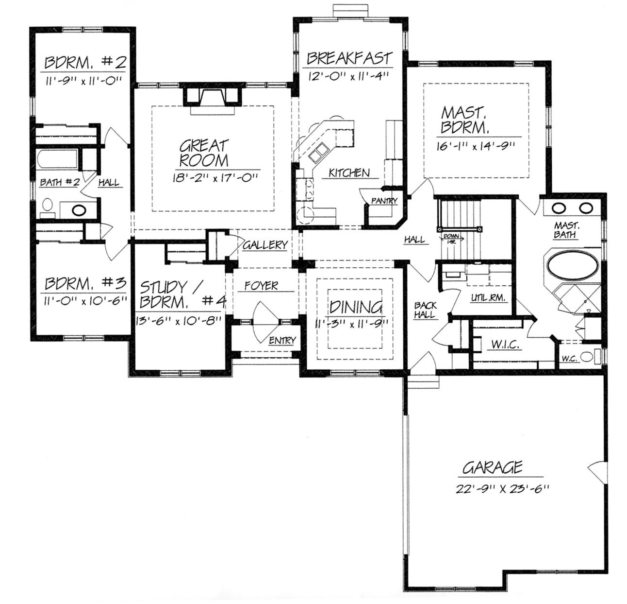 one story house plans without dining room