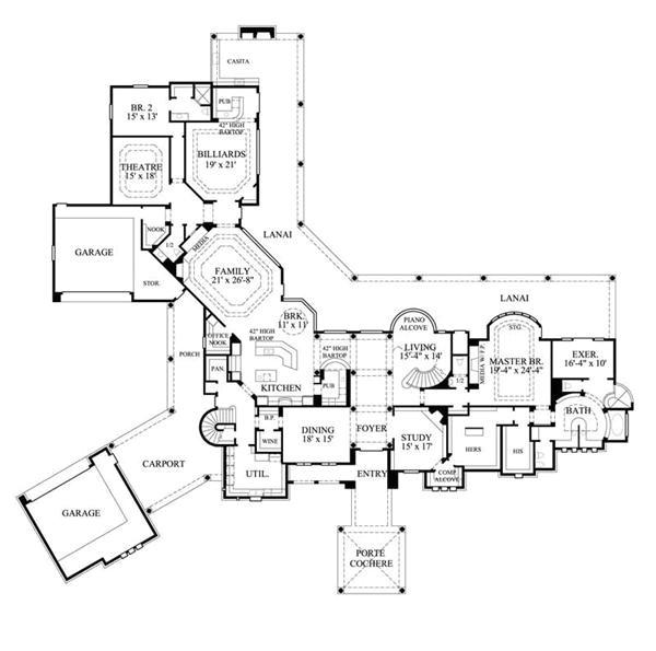 mediterranean house plans with porte cochere