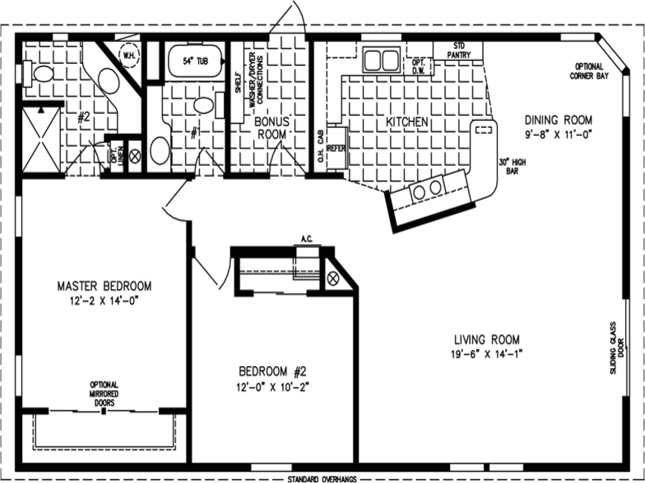 1200 square feet open floor plans