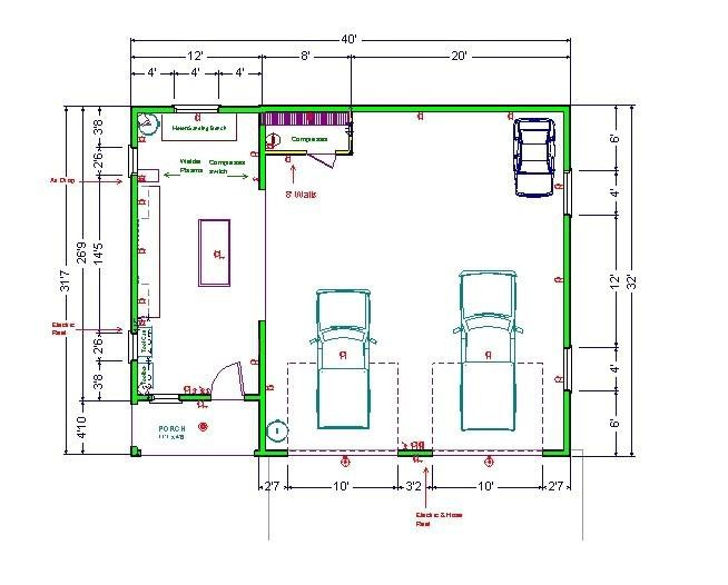 garage wood shop floor plan home plans
