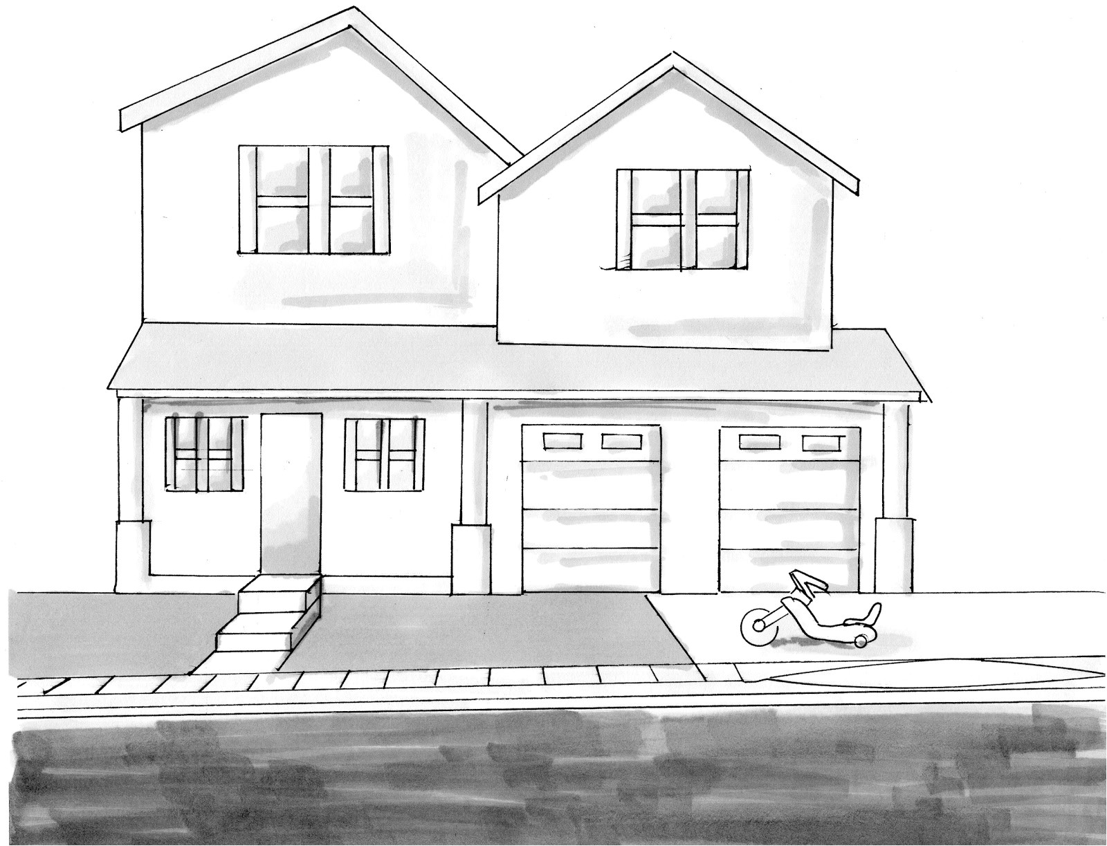 drawing of house from up