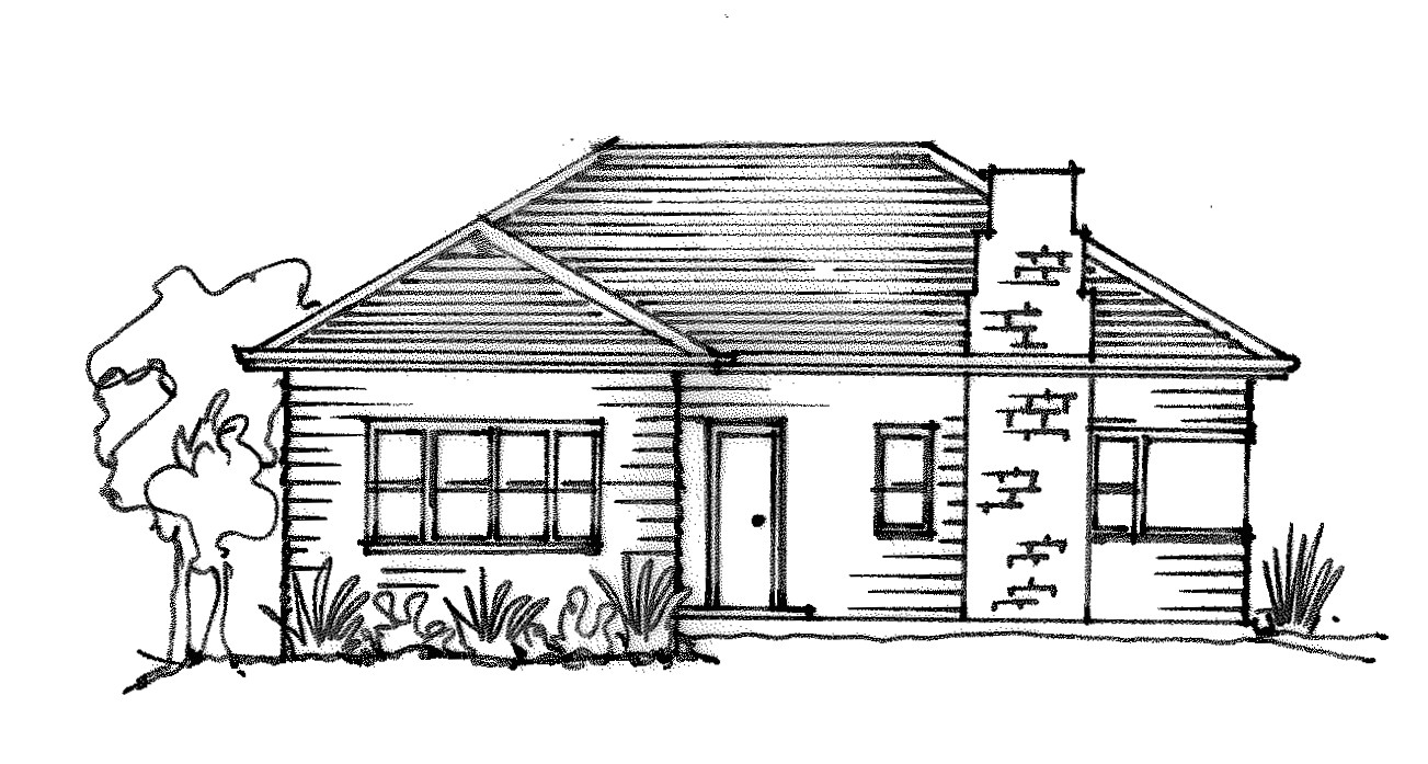 weatherboard house sketch simple
