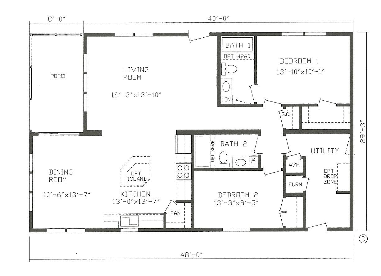 2 bedroom house plans 30 x 40