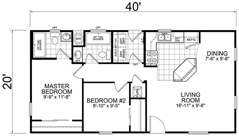 20x40 2 bedroom 2 bath 800 square feet