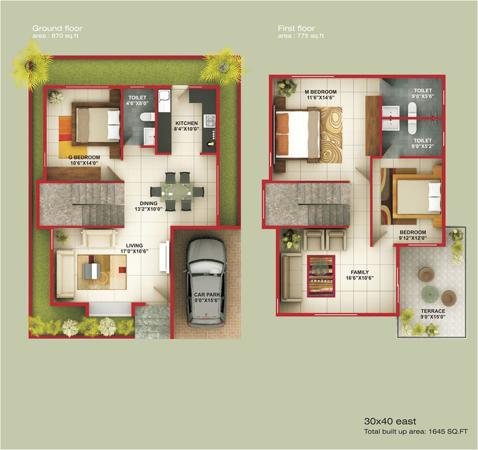 30x40 east facing house plan in bangalore