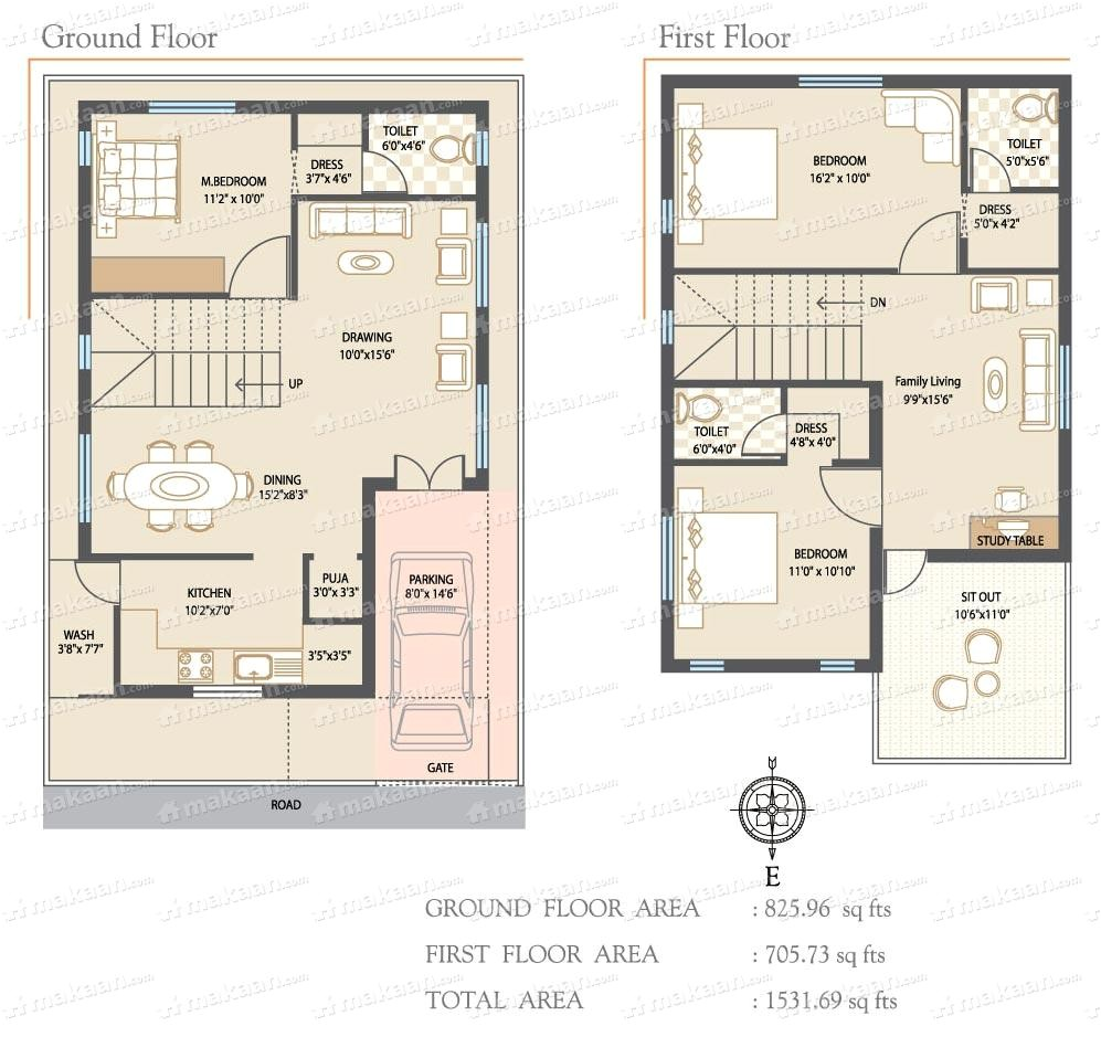 30x40 north facing house plans