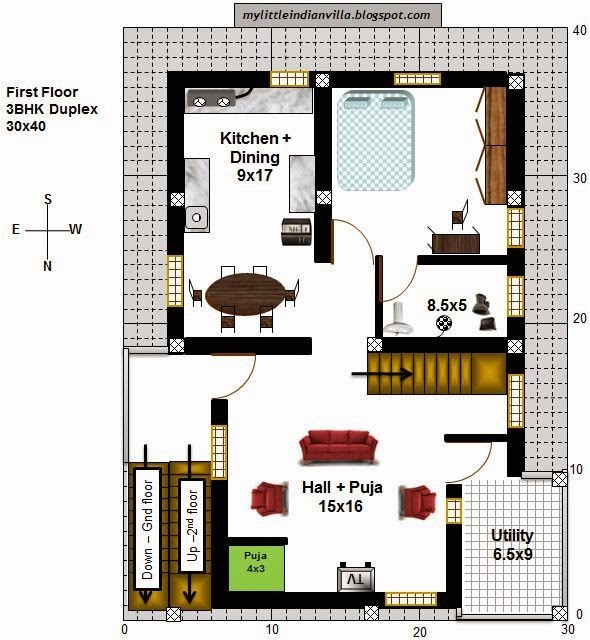 plan for duplex house in 30x40 site
