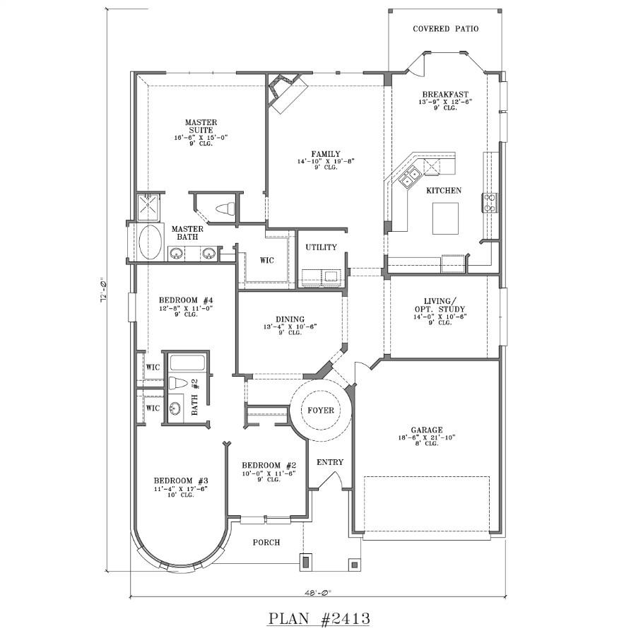 House Plans 4 Bedrooms One Floor 4 Bedroom