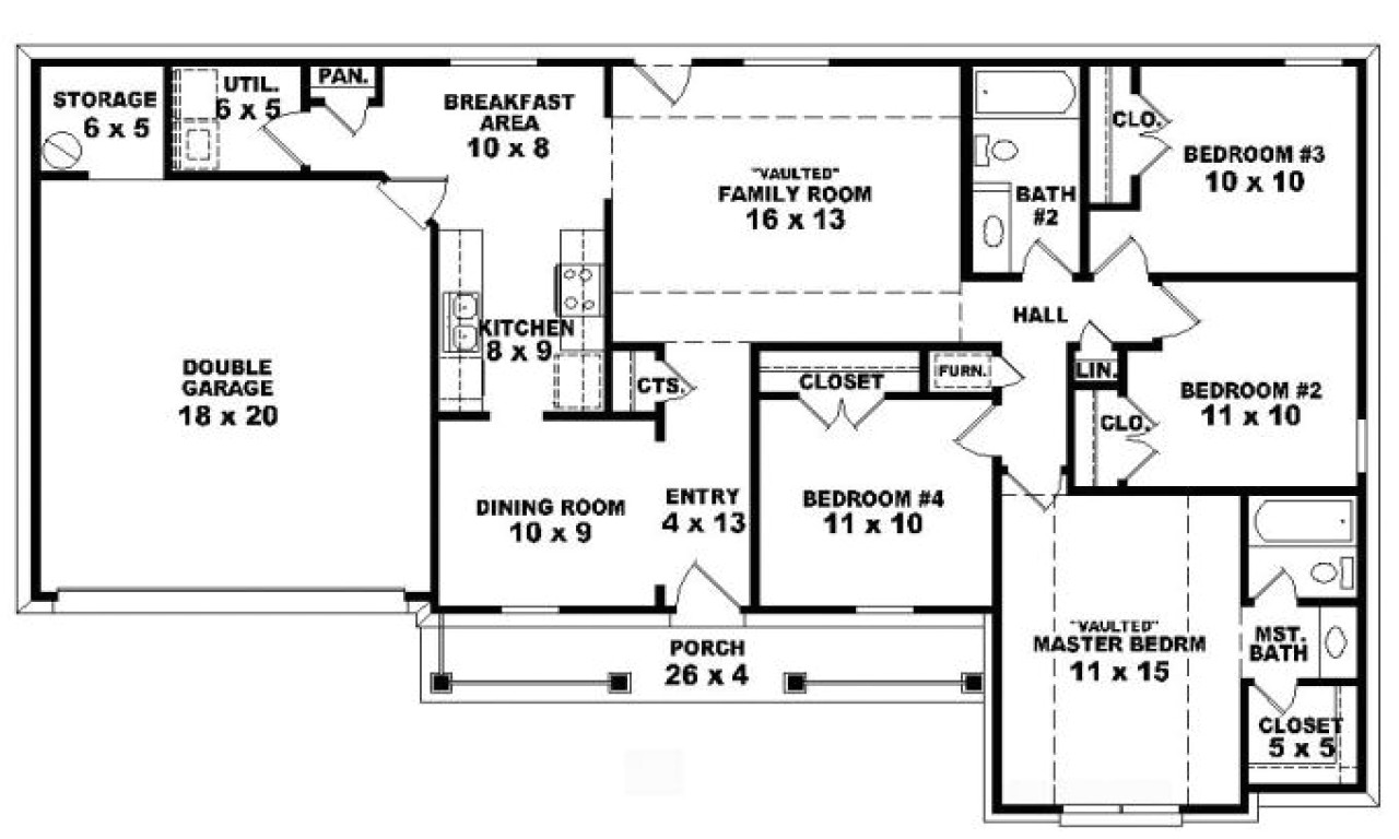 1bbbb610a759da92 4 bedroom one story ranch house plans inside 4 bedroom