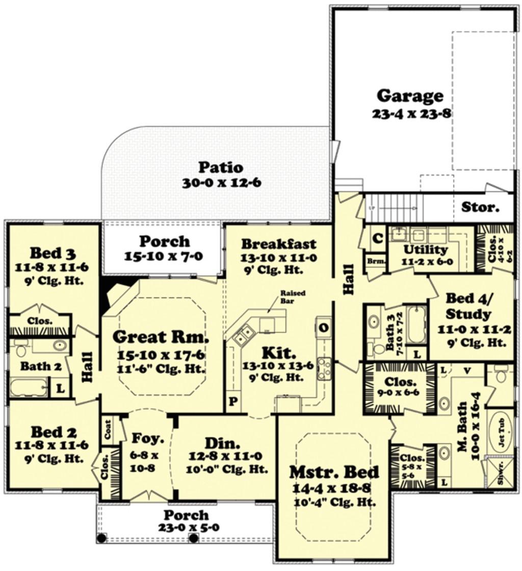 2400 square feet 4 bedrooms 3 bathroom european house plans 2 garage 34258