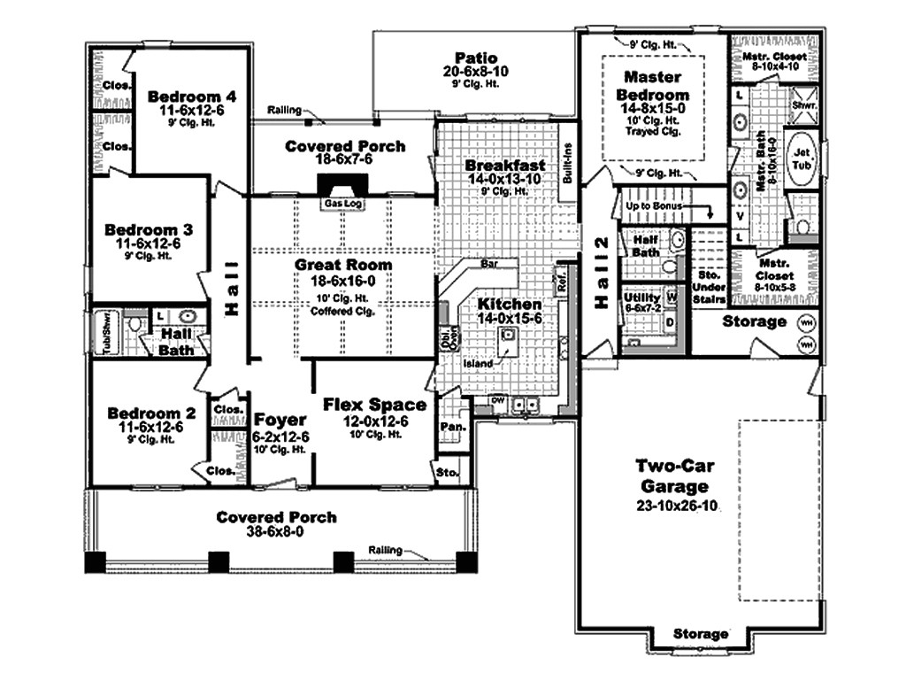 one story house plans 2400 square feet