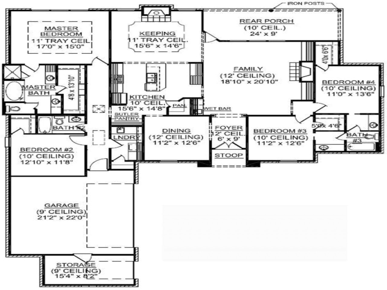 8324b15b65f2a74d 4 bedroom single family 4 bedroom one story house plans