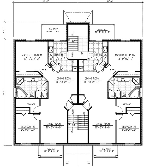 six plex multi family house plan 90153pd