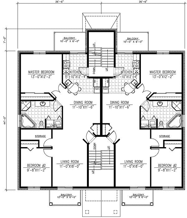 six plex multi family house plan 90153pd