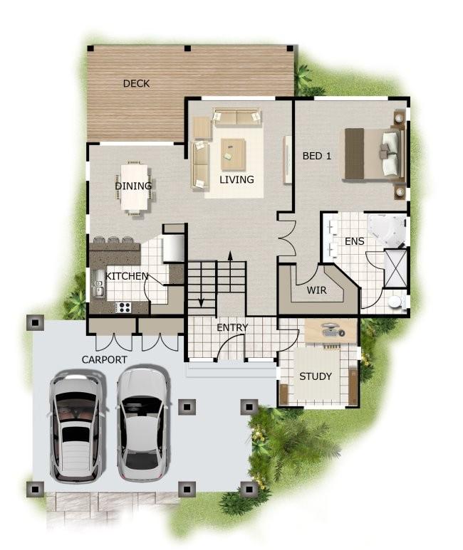 268kr 4bedroom sloping land house plans