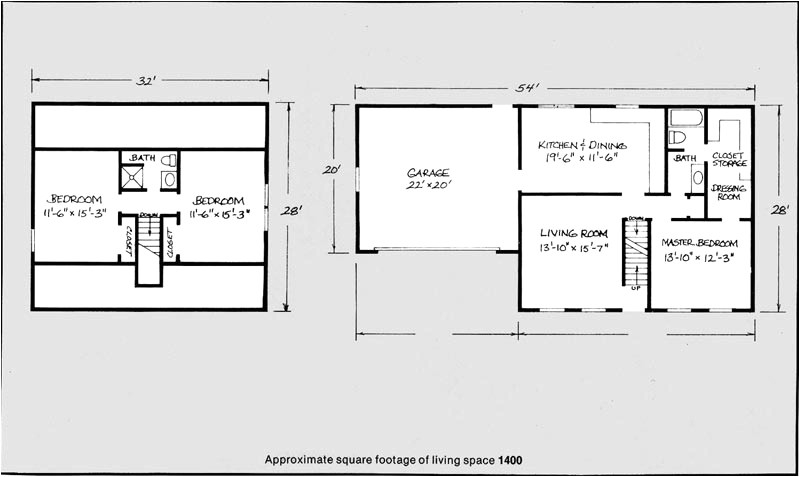 1400 square foot house plans 2 story