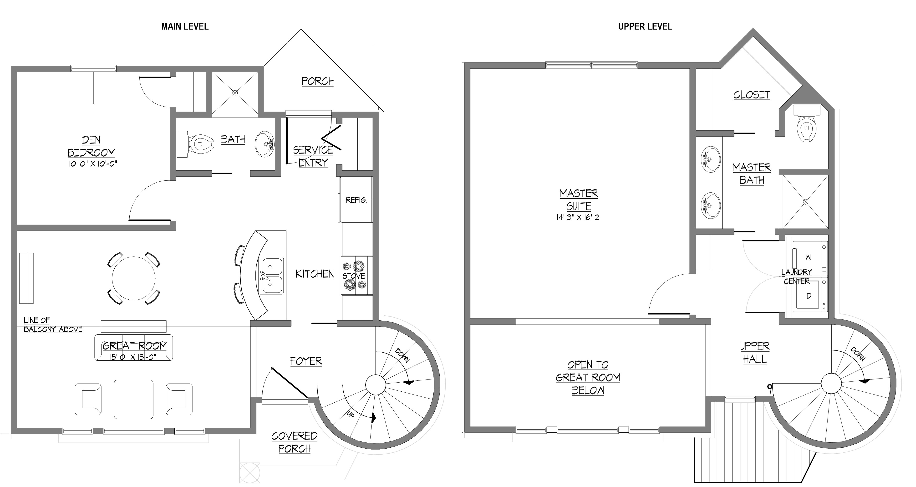 small 2 story home plans with master on main