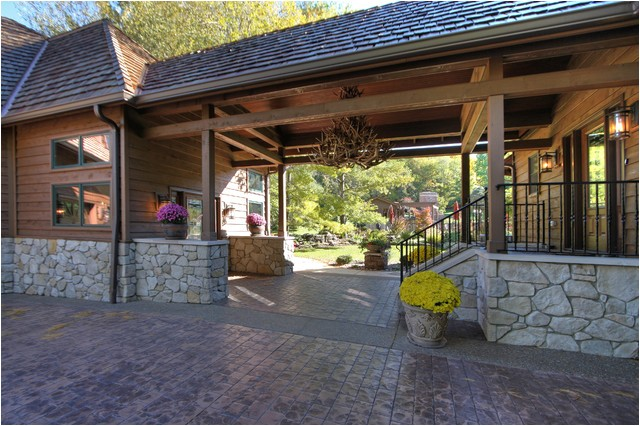 rustic garage addition and breezeway rustic exterior st louis