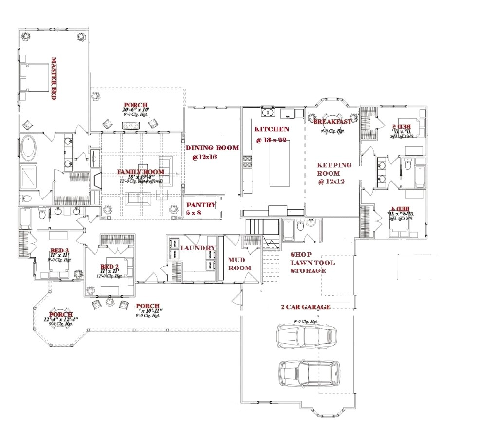 house plans with large kitchen and great room