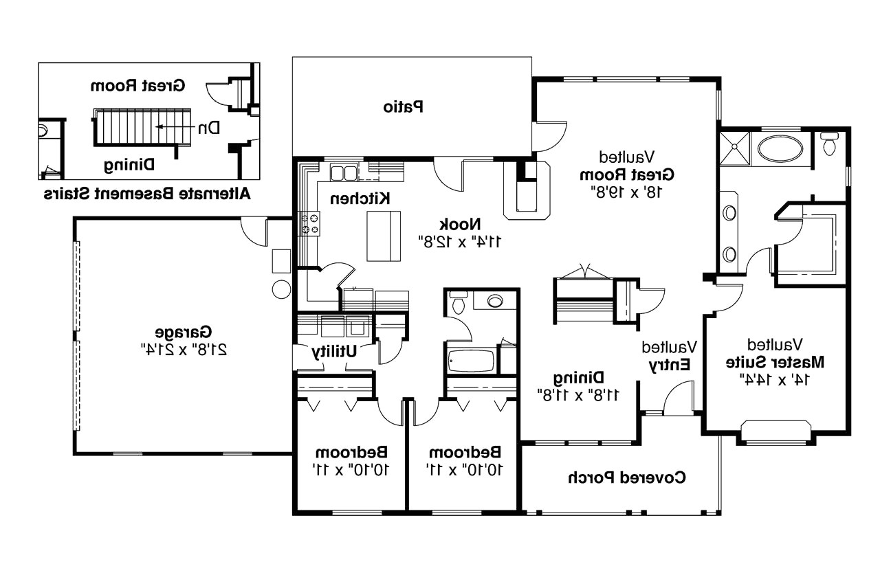 one story house plans with kitchen island
