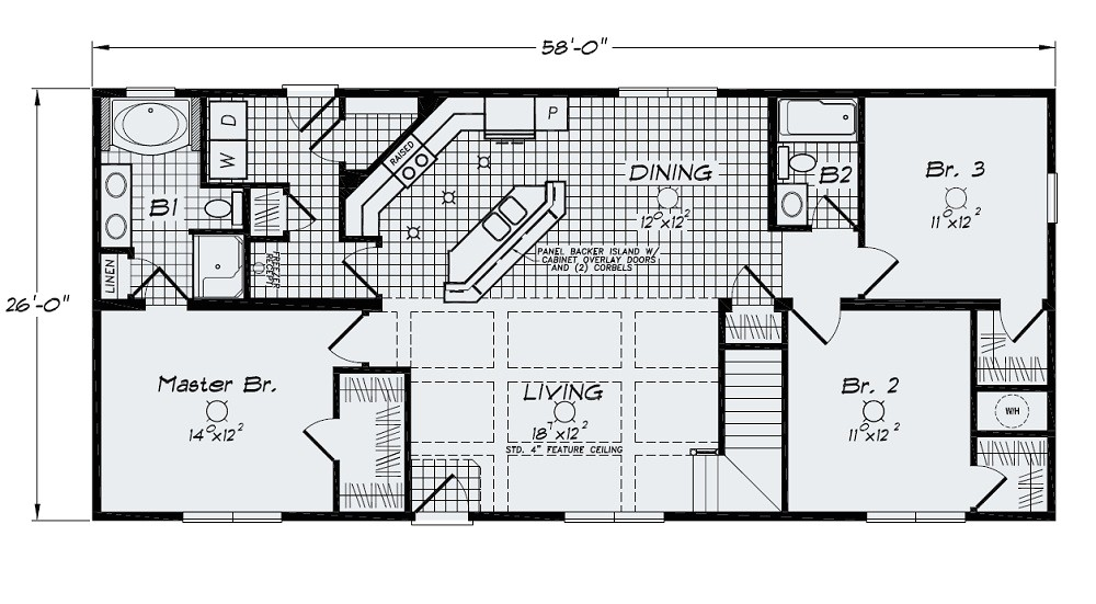House Plans with Large Kitchen island Open Floor Plan Large ...