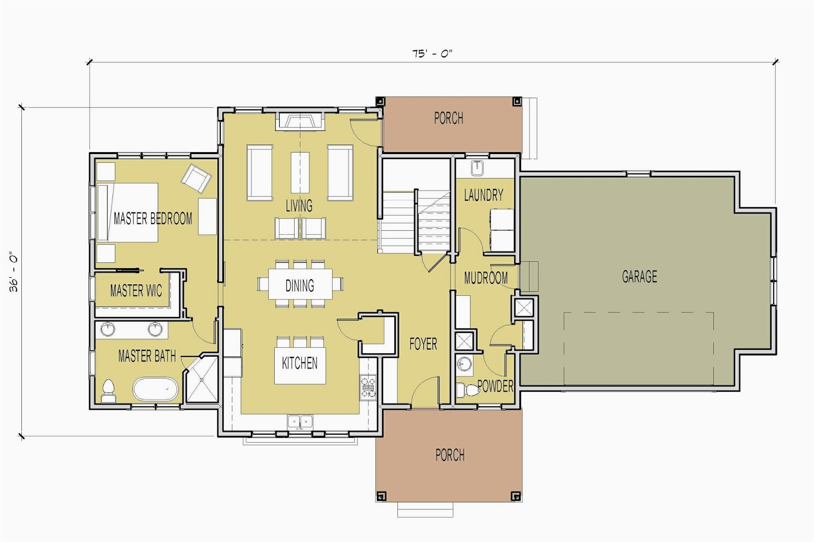vaulted living room house plans