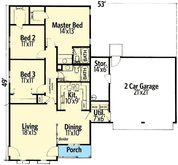 ranch house plan with lots of storage 55160br