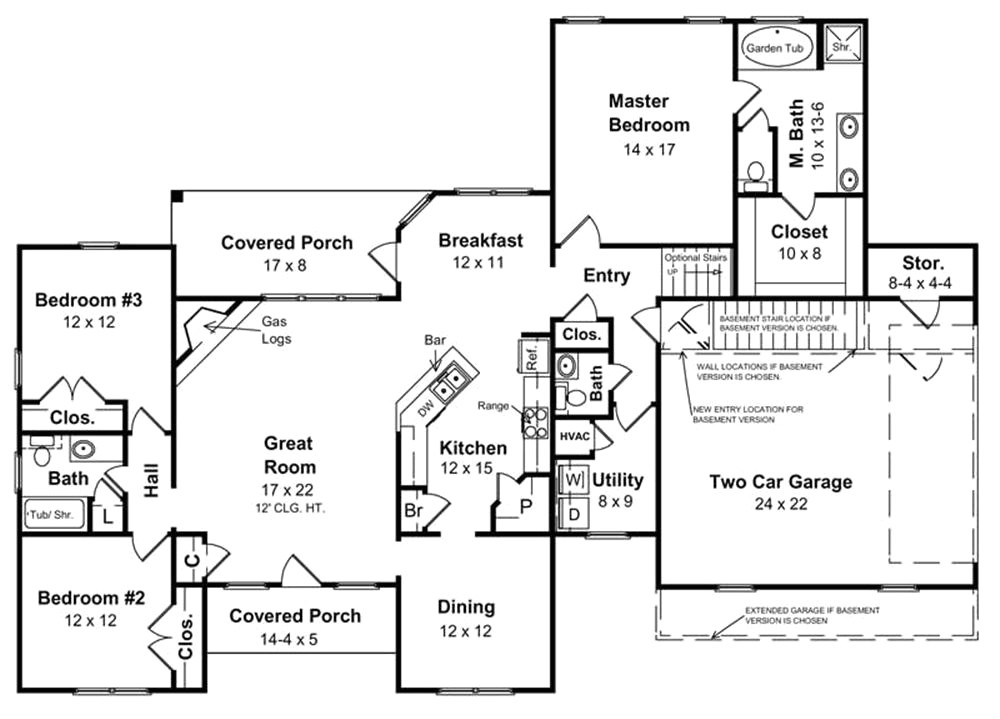 ranch style house plans without basement