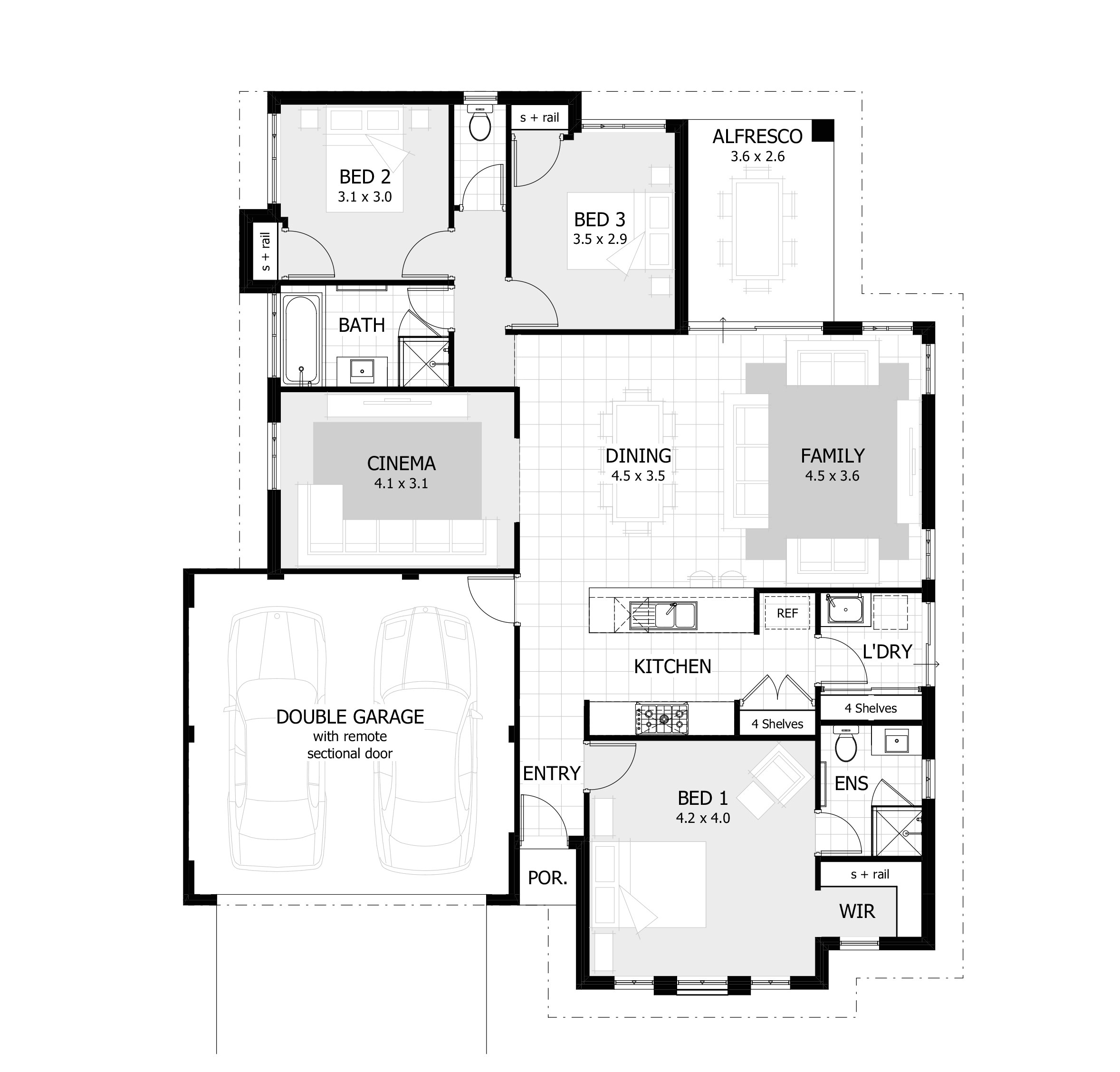 4 bedroom house plan without garage