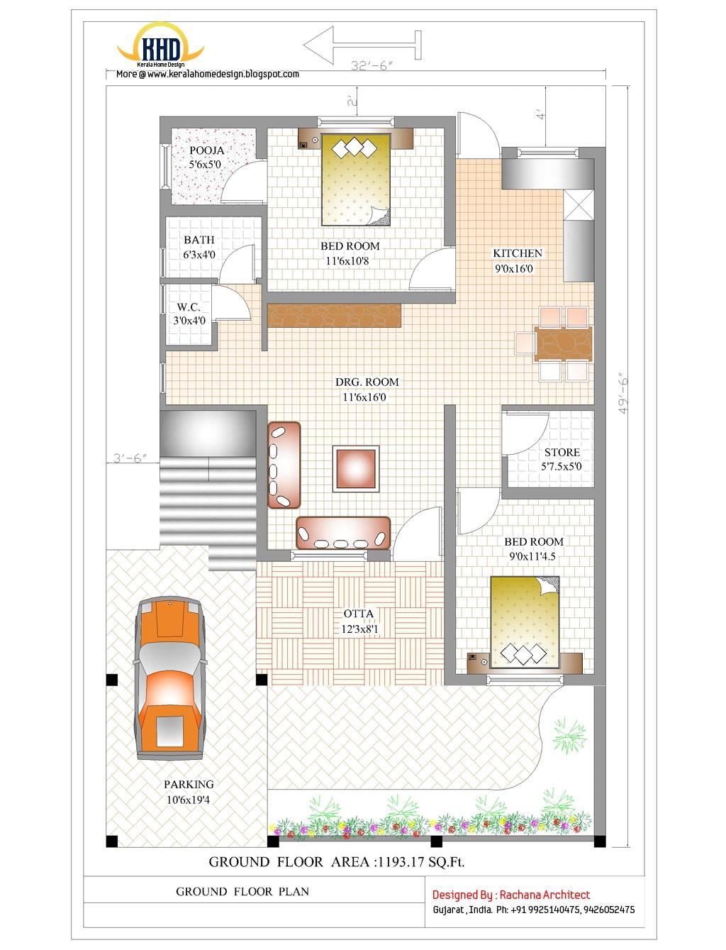 contemporary india house plan 2185 sqft