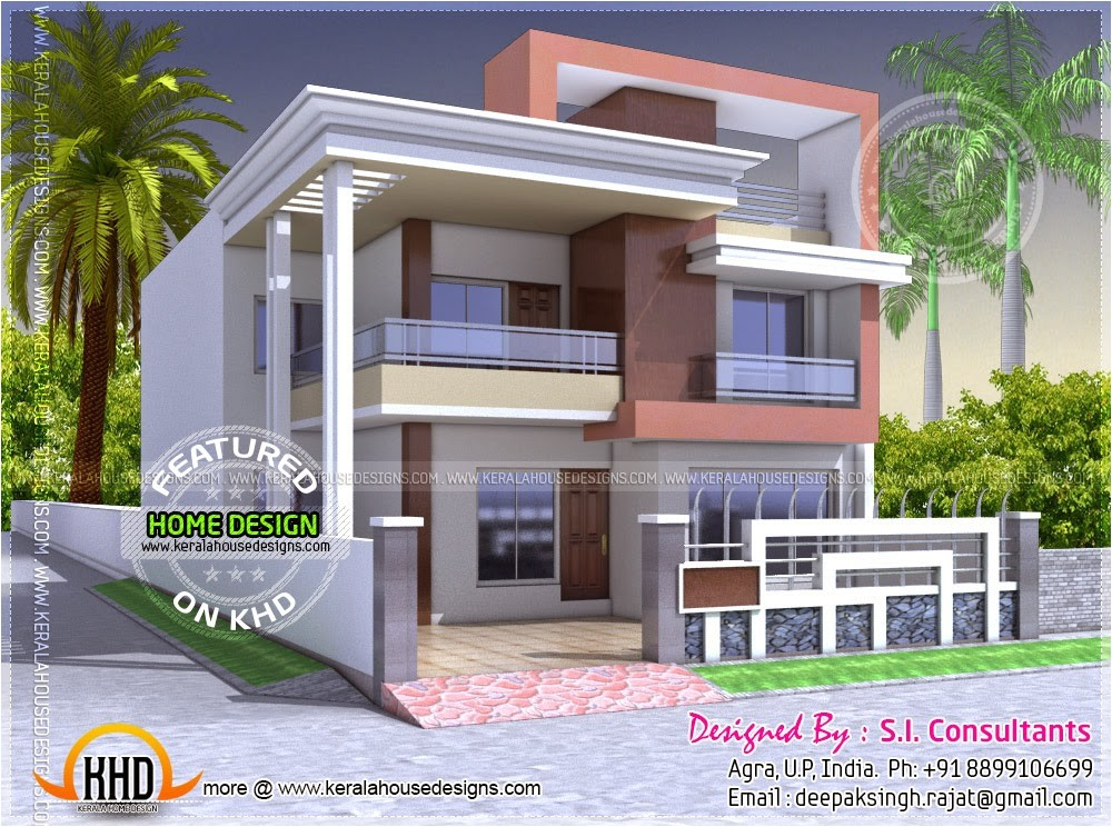 Indian Home Designs and Plans north Indian Style Flat Roof House with Floor Plan