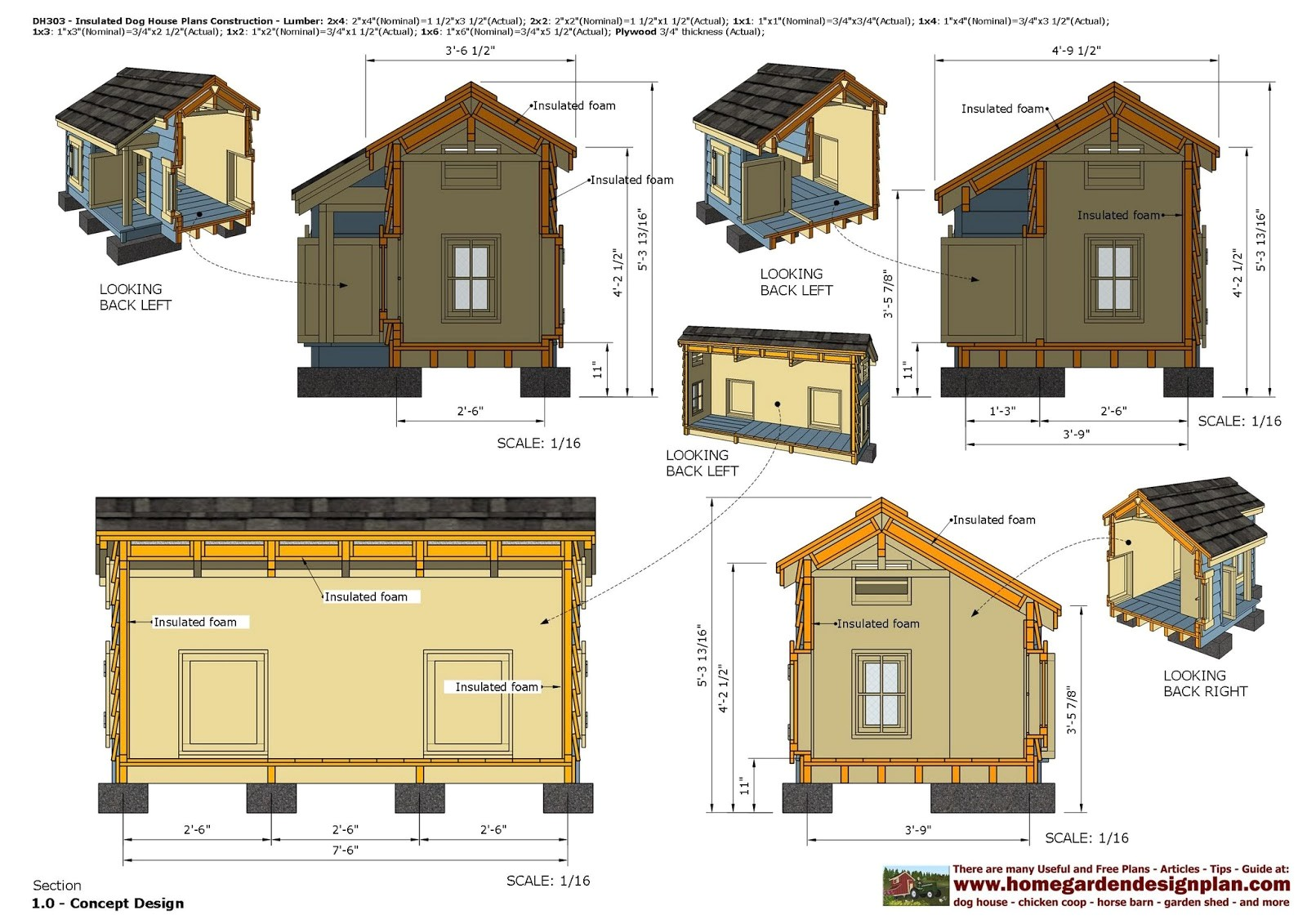 dh303 insulated dog house plans dog