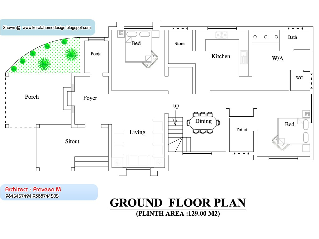 kerala home plan and elevation 2033 sq
